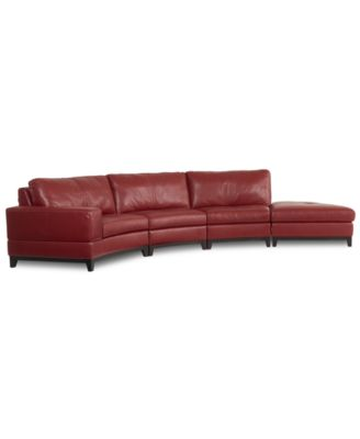 lyla leather curved sectional sofa 5 curved chair