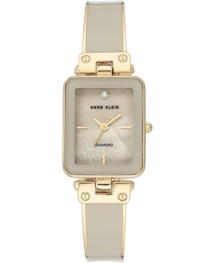 Anne Klein - Women's Diamond Accent Tan & Gold-Tone Bangle Bracelet Watch 22x34mm