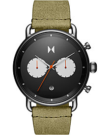 MVMT Men's Chronograph Rugged Pack Green Leather Strap Watch 47mm