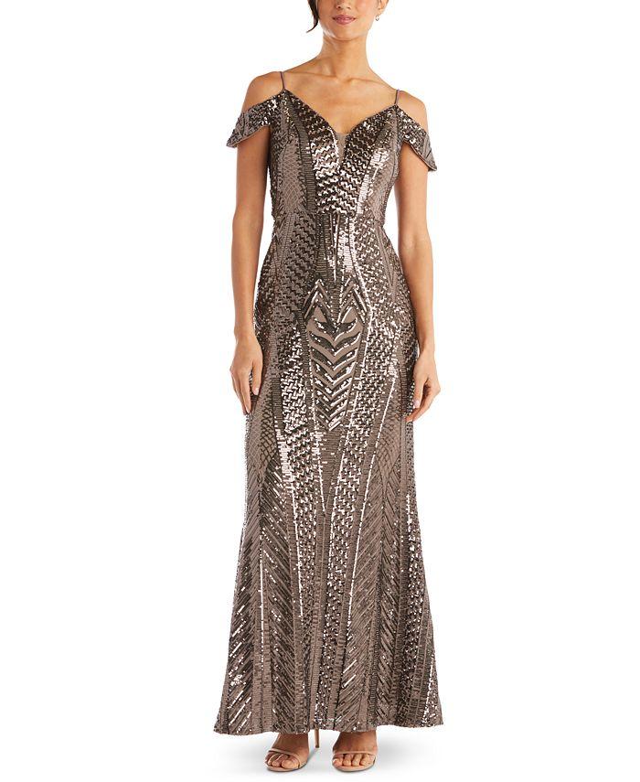 Nightway - Sequin Cold-Shoulder Gown