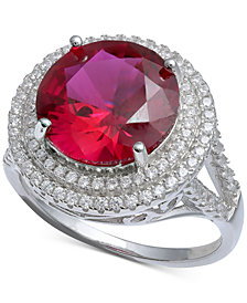 Cubic Zirconia Halo Statement Ring in Sterling Silver or 18k Gold over Silver