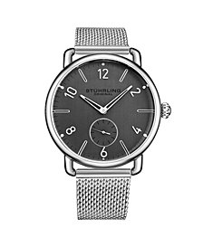 Stuhrling Men's Silver Tone Stainless Steel Bracelet Watch 42mm