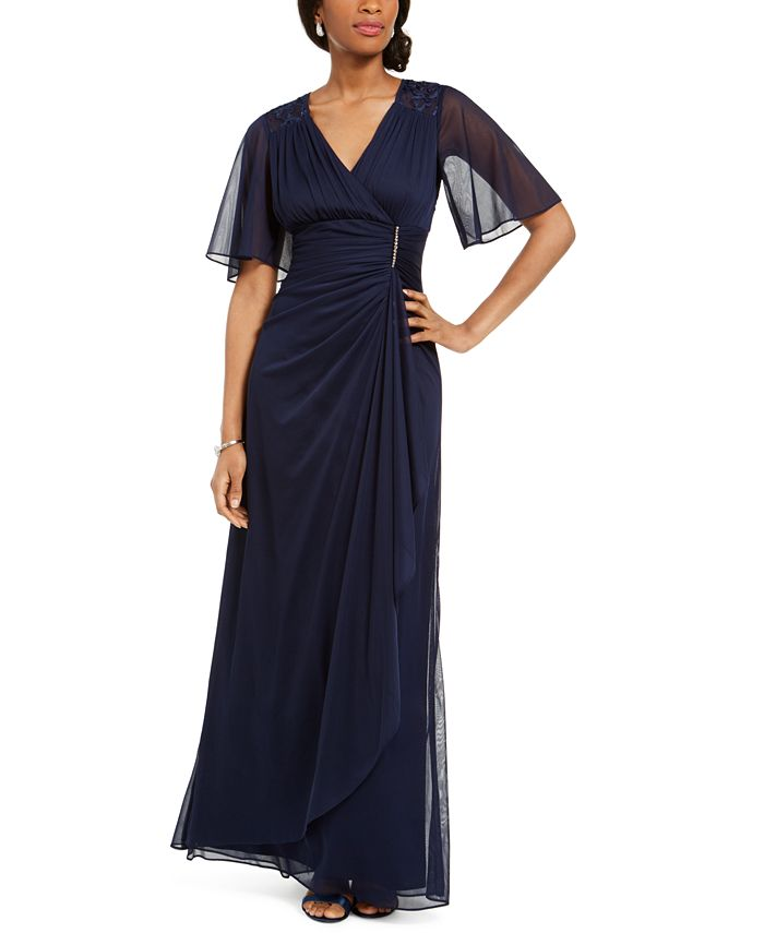Betsy & Adam - Ruffled Faux-Wrap Gown