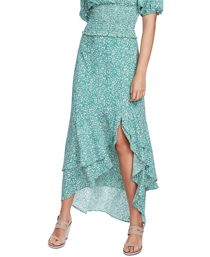 1.STATE - Floral-Print Asymmetrical Skirt