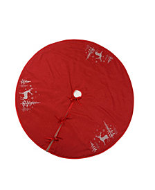 Manor Luxe Deer In Snowing Forest Round Christmas Tree Skirt