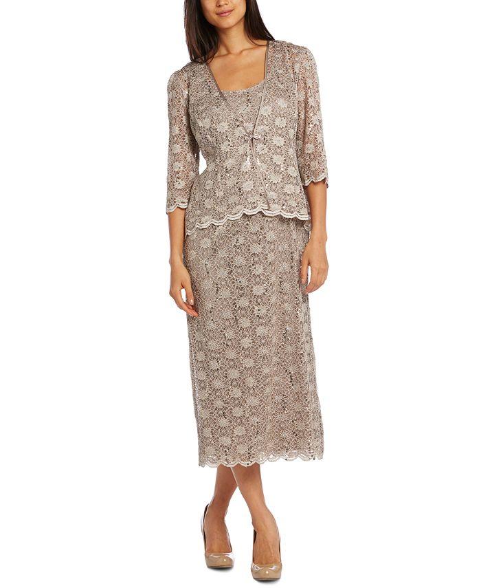 R & M Richards - Dress and Jacket, Sleeveless Sequined Lace Sheath