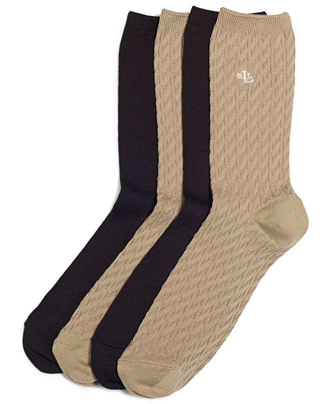 Lauren Ralph Lauren Women's Cable Supersoft Trouser 2 Pack Socks