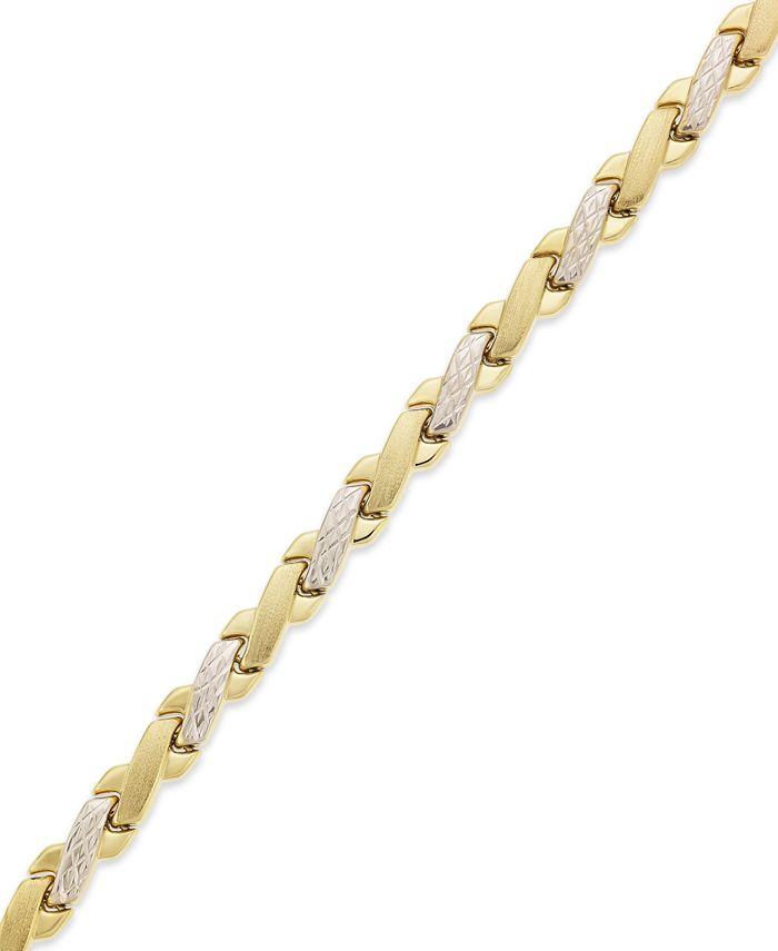 Macy's - 10k Gold and White Gold Bracelet, Two-Tone X Bracelet