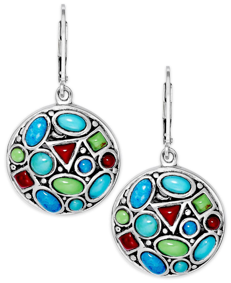 Sterling Silver Earrings, Reconstituted Multi Stone Disc Drop Earrings (5 1/5 ct. t.w.)   Earrings   Jewelry & Watches
