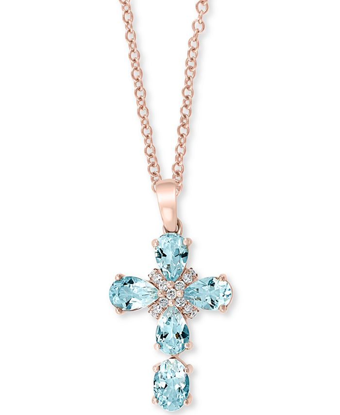 "EFFY Collection - Aquamarine (2 ct. t.w.) & Diamond (1/10 ct. t.w.) 18"" Pendant Necklace in 14k Rose Gold"
