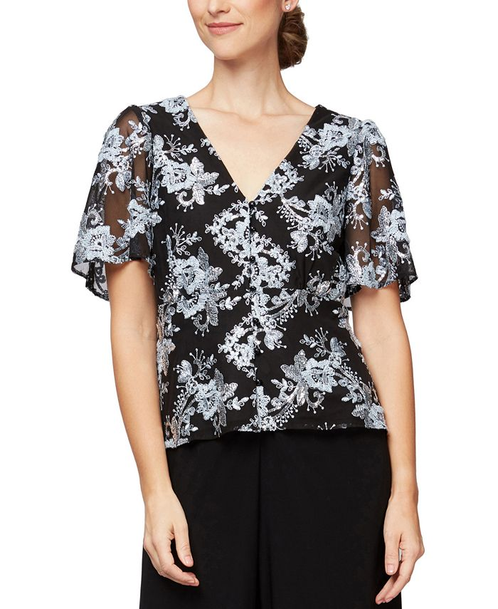 Alex Evenings - Petite Embroidered Floral Blouse