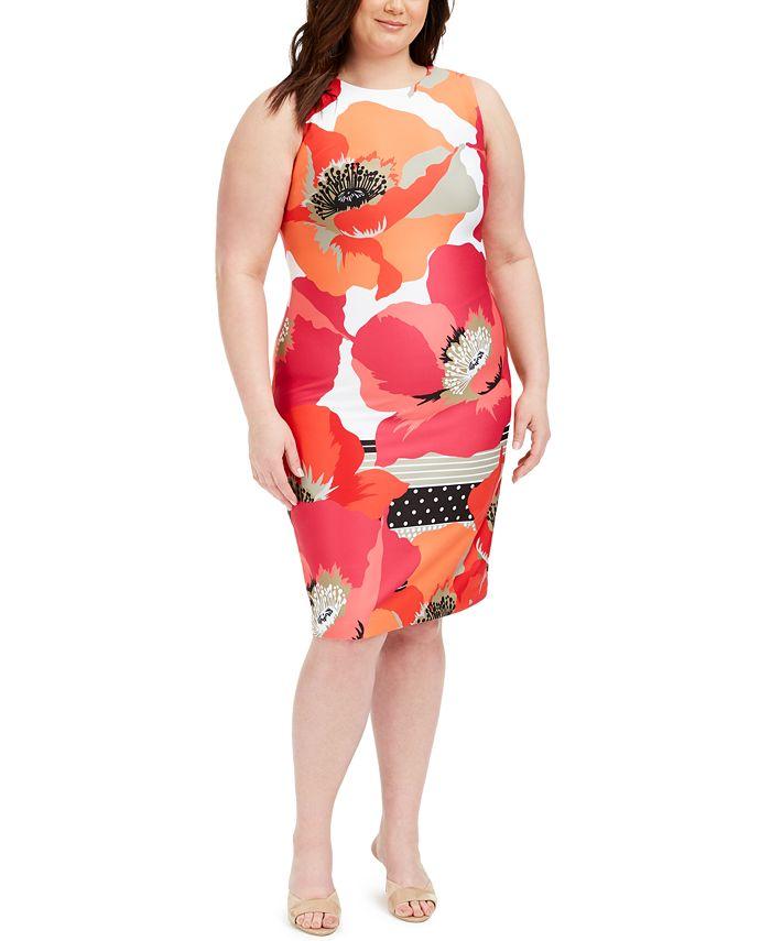 Calvin Klein - Plus Size Floral-Print Sheath Dress