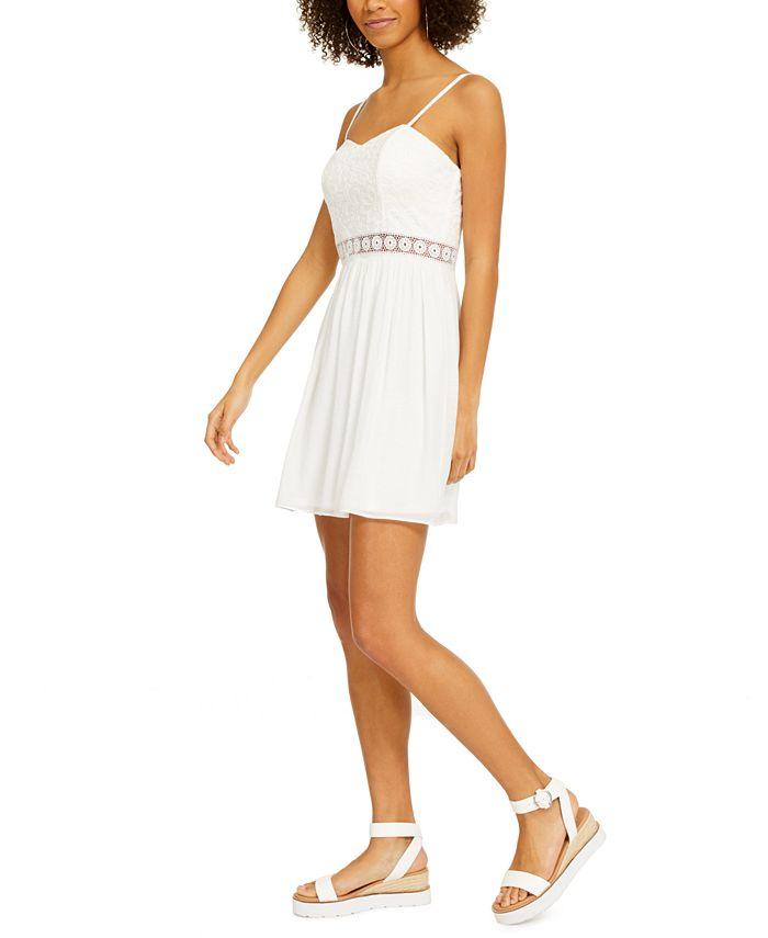 BCX - Juniors' Crochet-Trim Fit & Flare Dress