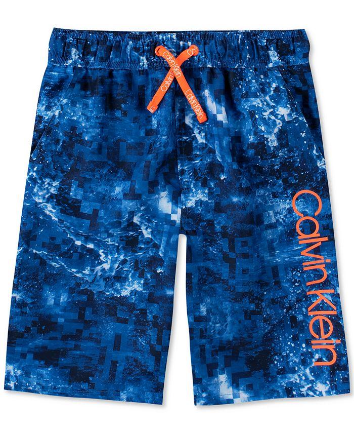 Calvin Klein - Big Boys Abstract Wave-Print Logo Swim Trunks