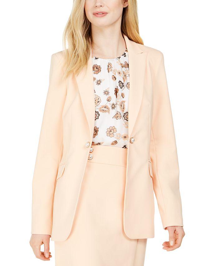Calvin Klein - Imitation Pearl Open-Front Jacket