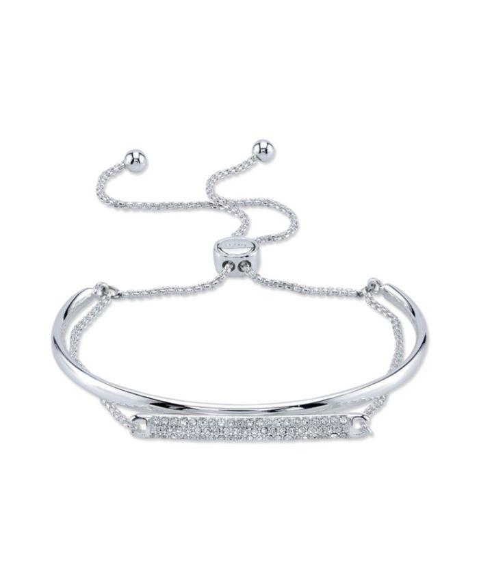 Unwritten Crystal Fine Silver Plated Ajdustable Bolo Bracelet & Reviews - Bracelets - Jewelry & Watches - Macy's