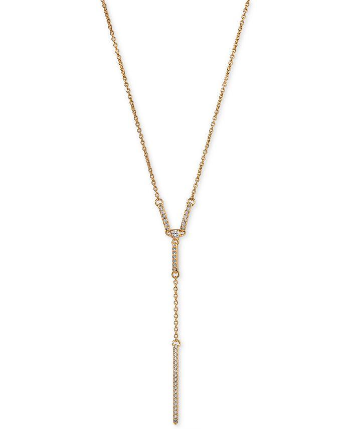 "AVA NADRI - 18k Gold-Plated Cubic Zirconia Pavé Lariat Necklace, 17"" + 1"" extender"