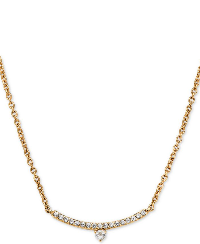 """AVA NADRI - 18k Gold-Plated Cubic Zirconia Curved Bar Pendant Necklace, 16"""" + 1"""" extender"""