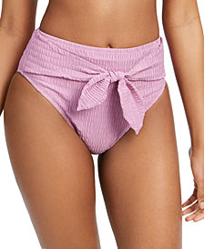 Jessica Simpson Smocked Tie-Front High-Waist Bikini Bottoms