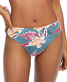 Roxy Juniors' Floral-Print High-Leg Bikini Bottoms