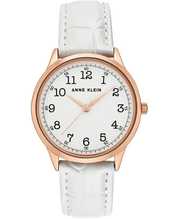 Anne Klein Women's White Leather Strap Watch 36mm