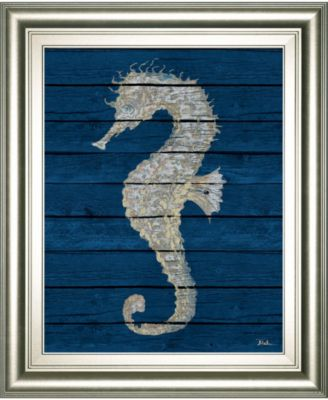Antique Seahorse on Blue I by Patricia Pinto Framed Print Wall Art - 22