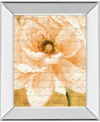 Beautiful Cream Peonies Script I by Patricia Pinto Mirror Framed Print Wall Art, 22
