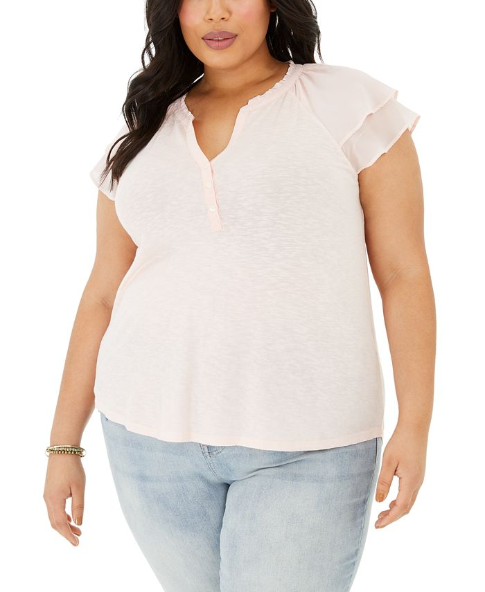 Style & Co - Plus Size Flutter-Sleeve Top