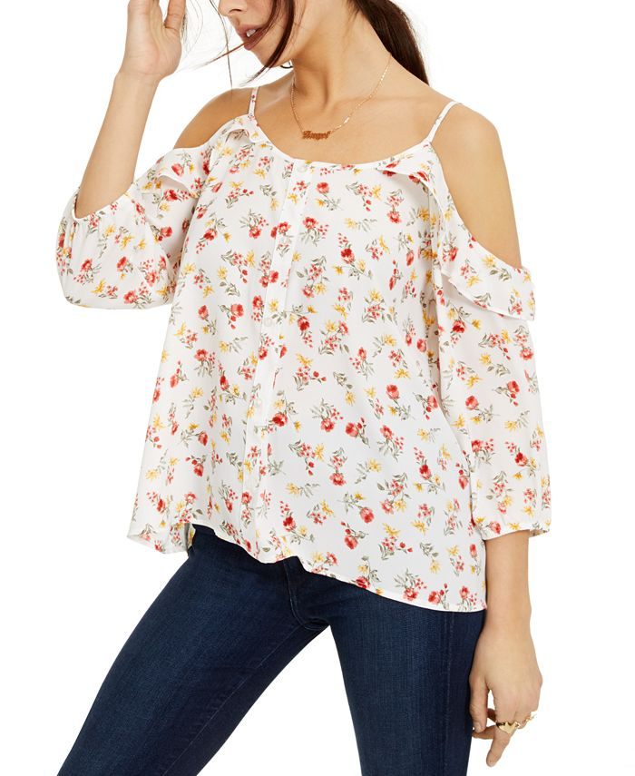Hippie Rose - Juniors' Printed Button-Trimmed Off-The-Shoulder Top
