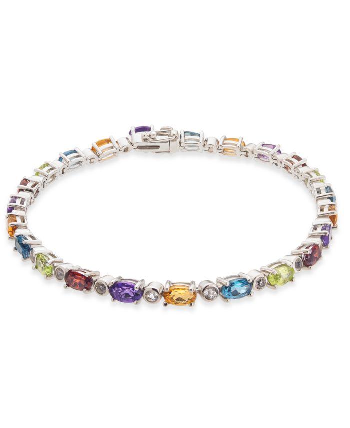 Macy's Multi-Gemstone Tennis Bracelet (7-5/8 ct. t.w.) in Sterling Silver & Reviews - Bracelets - Jewelry & Watches - Macy's
