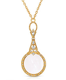 """2028 Gold Tone Crystal Accented Magnifying Glass 28"""" Necklace"""
