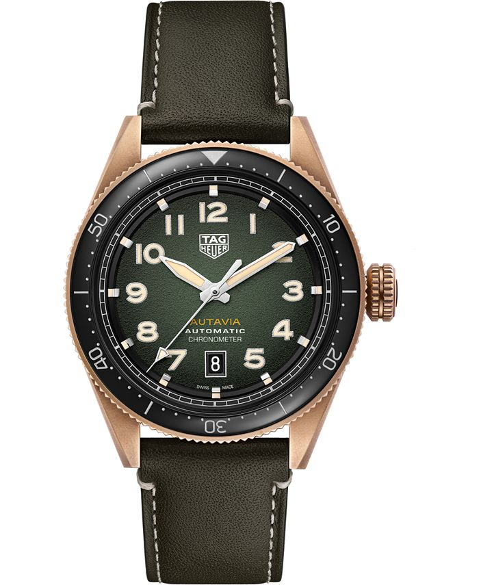 TAG Heuer - Men's Swiss Automatic Autavia Green Calfskin Leather Strap Watch 42mm