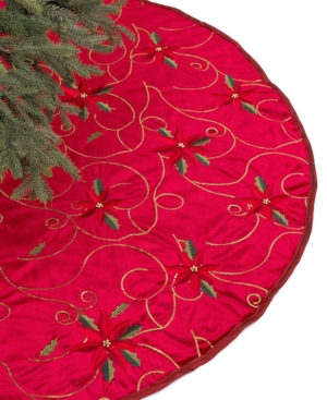 """Holiday Lane Red 48"""" Poinsettia Embroidered Christmas Tree Skirt"""