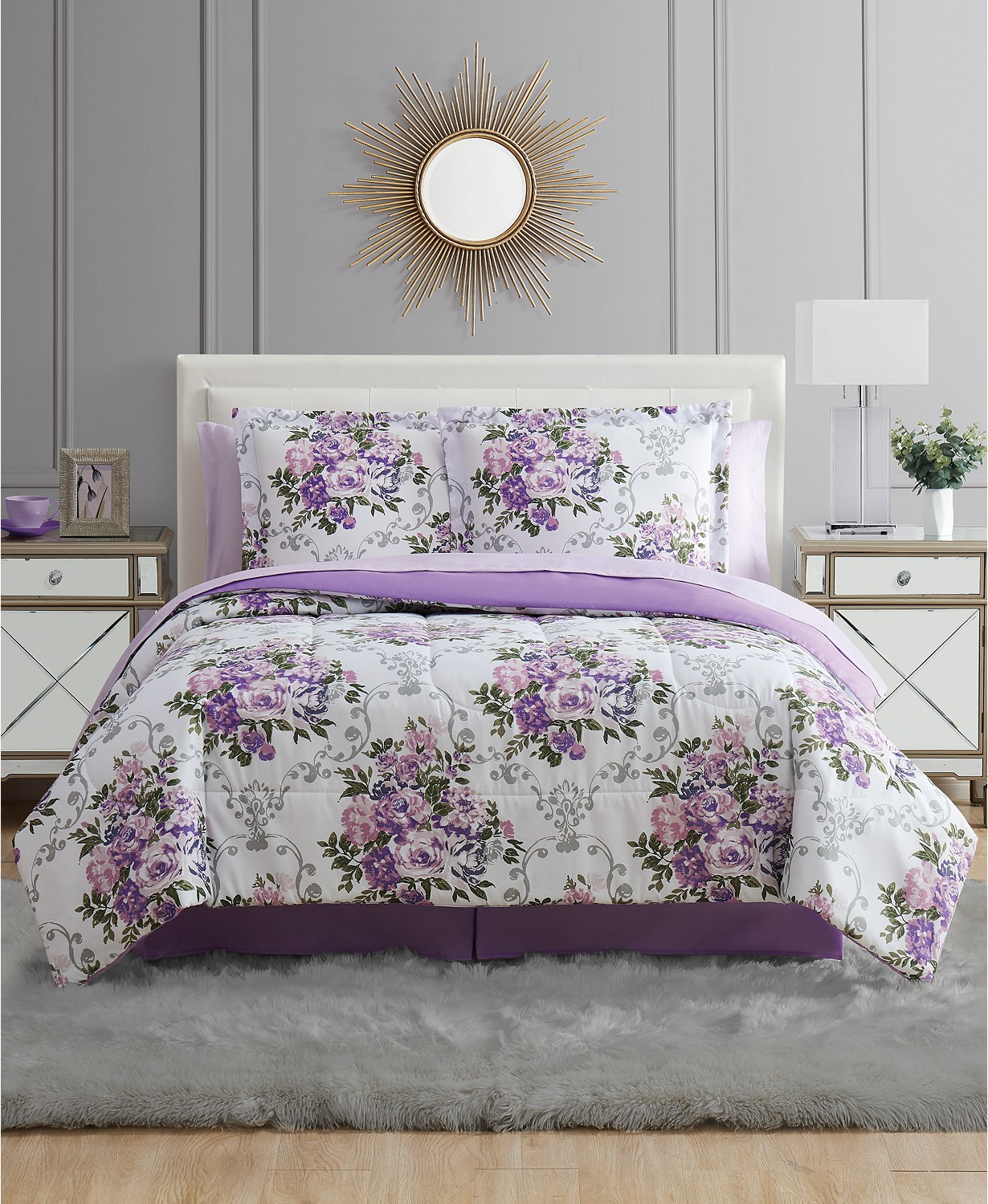(70% OFF Deal) Floral Bouquet Full 8PC Comforter Set $29.99