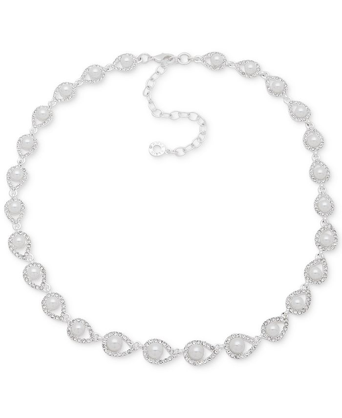 "Anne Klein - Silver-Tone Imitation Pearl & Crystal All-Around Statement Necklace, 16"" + 3"" extender"