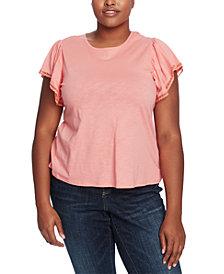 CeCe Plus Size Lace-Trim Top