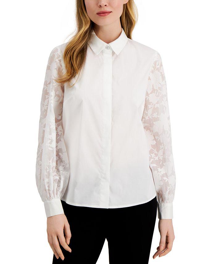 Alfani - Lace-Sleeve Button-Up Shirt