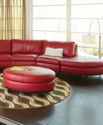 Lyla Leather Curved Sectional Sofa 4 Piece Curved Chair 2