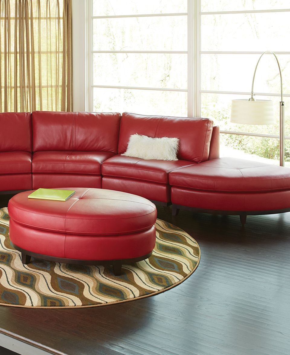 Lyla Leather Curved Sectional Sofa 4 Piece Curved Chair