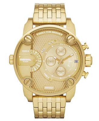 diesel s gold tone stainless steel bracelet