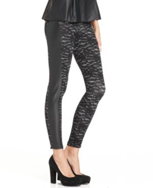Kensie Pants, Lace-Print Faux-Leather Leggings