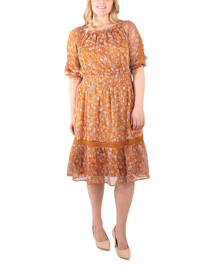 NY Collection - Plus Size Printed Crochet-Trim Peasant Dress