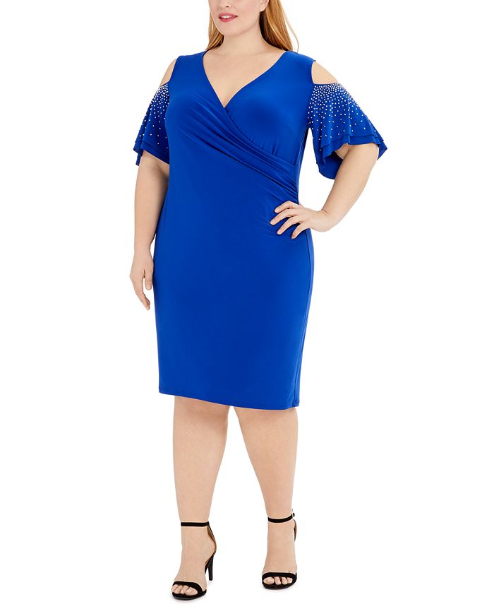 MSK - Plus Size Embellished Cold-Shoulder Sheath Dress