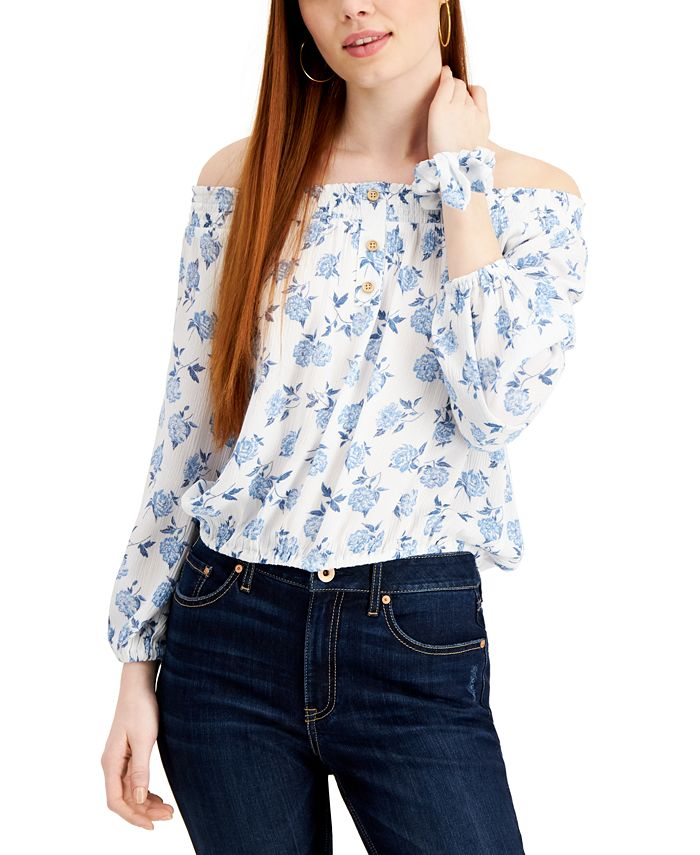 Vanilla Star - Juniors' Floral-Print Off-The-Shoulder Top