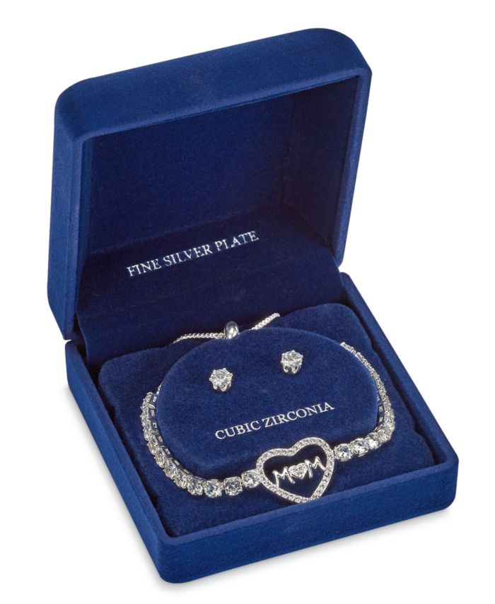 Macy's Fine Silver Plate Cubic Zirconia Adjustable Bolo Mom in Heart Bracelet and Stud Earring Set & Reviews - Fashion Jewelry - Jewelry & Watches - Macy's