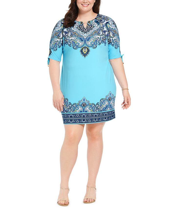 JM Collection - Plus Size Hardware-Trim Ruched-Sleeve Dress