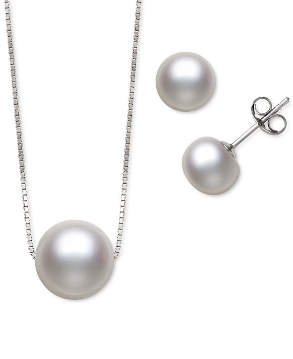 Macy's 2-Pc. Set Black Dyed Cultured Freshwater Pearl (8-10mm) Pendant Necklace & Matching Stud Earrings (Also in White & Pink Cultured Freshwater Pearl)