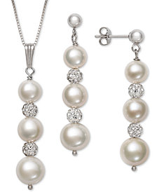 2-Pc. Set Cultured Freshwater Pearl (6-8-1/2mm) & Crystal Pendant Necklace & Matching Drop Earrings in Sterling Silver