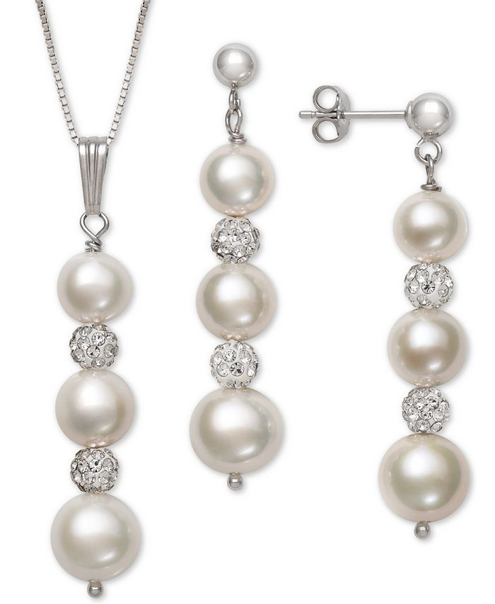 Macy's - 2-Pc. Set Cultured Freshwater Pearl (6-8-1/2mm) & Crystal Pendant Necklace & Matching Drop Earrings in Sterling Silver