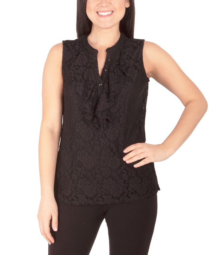 NY Collection - Petite Lace Ruffled Top